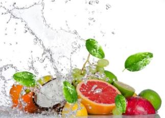 water splash and fresh food