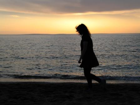 solitary walk on beach