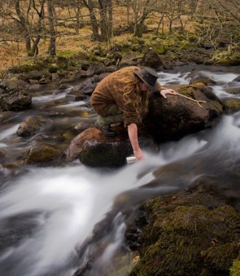 collecting stream water
