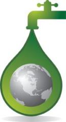earth in a green water drip