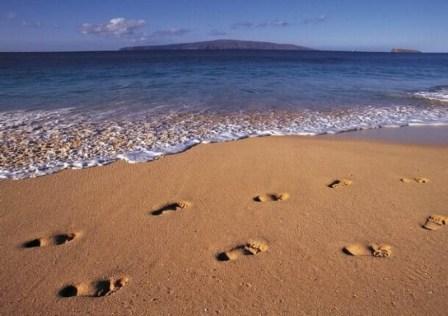 water footprints on beach
