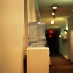 Office water cooler with bottled water