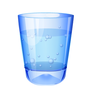 blue glass of water