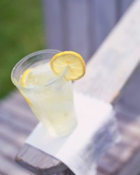 A refreshing glass of lemon water